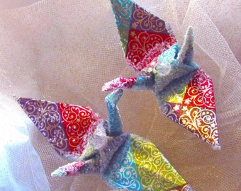 Renaissance Peace Crane Bird Christmas Ornament Wedding Cake Topper Party Favor Origami Japanese Paper Place Card Holder Table Decoration