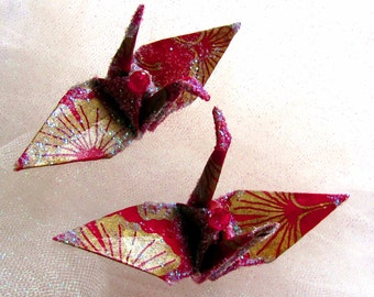 Ginkgo Gold Magenta Peace Crane Bird Wedding Cake Topper Party Favor Origami Christmas Ornament Japanese Lotka Paper