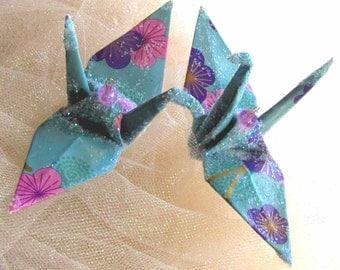 Aurora Blue Sakura Peace Crane Wedding Cake Topper Christmas Ornament Party Favor Origami Decoration Japanese Bird Paper 1st Anniversary