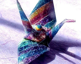 Rainbow Sparkle Peace Crane  Wedding Cake Topper Party Favor Origami Christmas Ornament Japan Paper Bird Place Card Holder Table Decoration
