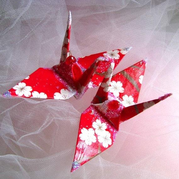 Peace Crane Bird, Wedding Cake Topper, Party Favor Origami Christmas Ornament  Paper 1st Anniversary Cherry Blossom Sakura Red Decoration