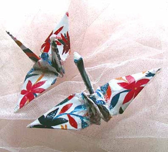 Otomi Puebla Peace Crane Bird Wedding Cake Topper Party Favor Origami Christmas Ornament Paper Japan Place Card Holder Table Decoration