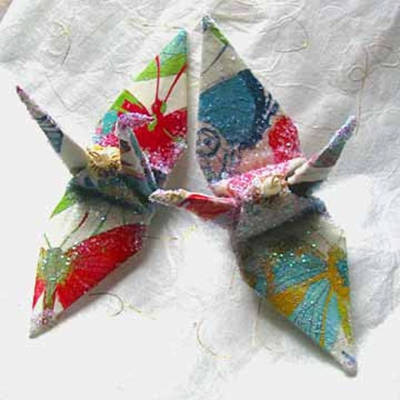 Rainbow Butterfly Peace Crane Bird Wedding Cake Topper Party Favor Origami Ornament Japanese Paper Place Card Holder Anniversary Decoration
