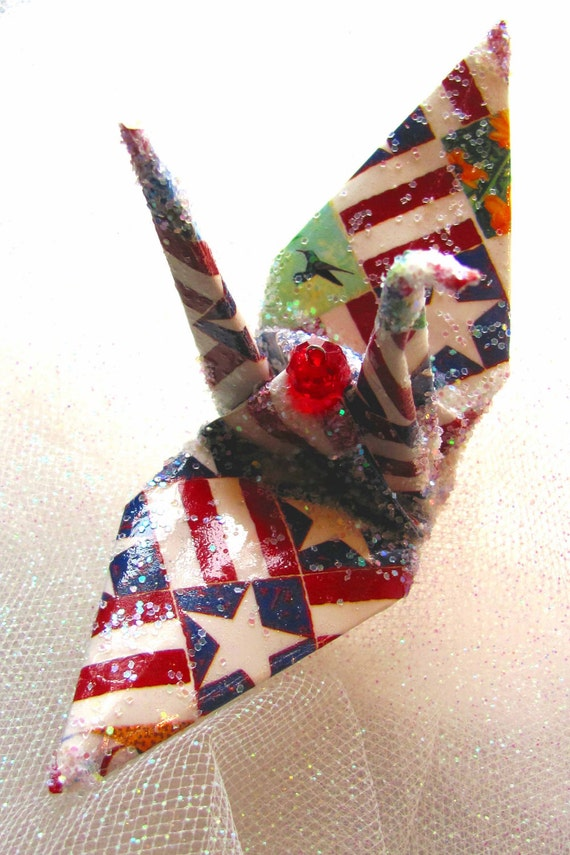 Americana Peace Crane Christmas Ornament Wedding Cake Topper Party Favor Origami  Paper Bird Occupy Liberation Patriot USA Please VOTE