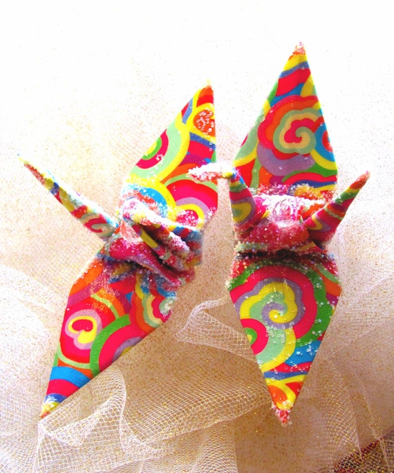 Rainbow Clouds Peace Crane Wedding Cake Topper Party Favor Origami Christmas Ornament Japanese Bird Paper Place Card Holder Table Decoration