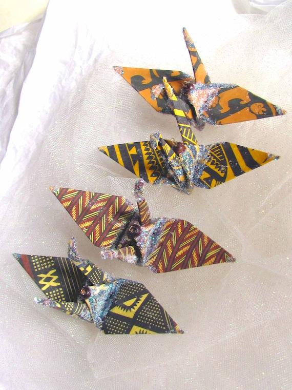 African Flock Peace Crane Wedding Cake Topper Favor Origami Christmas Ornament Japanese Paper Bird Good Deal Set Kwanzaa
