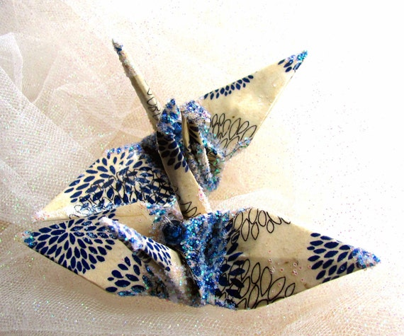 Mood Indigo Peace Crane Bird Wedding Cake Topper Party Favor Christmas Ornament Origami Lotka Paper Place Card Holder Decoration Navy Blue