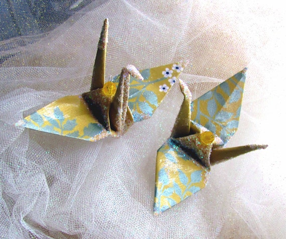 Yarrow Yellow Peace Crane Bird Wedding Cake Topper Party Favor Christmas Ornament Origami Paper 1st Anniversary Place Card Holder Decoration