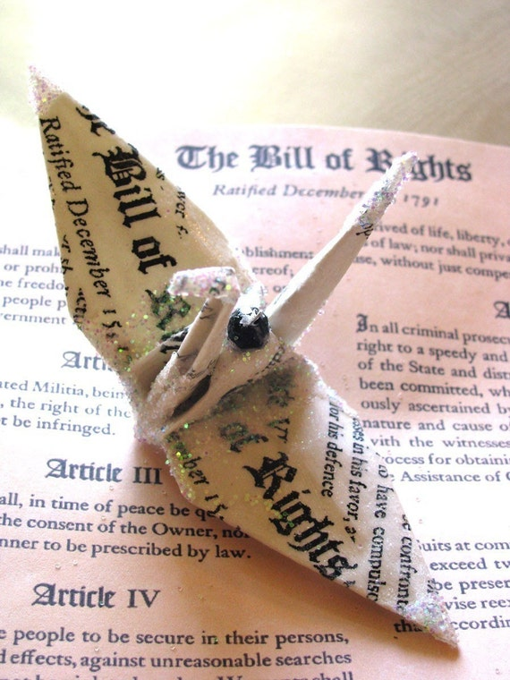 Bill of Rights Peace Crane Bird, Wedding Cake Topper,  Party Favor Origami Christmas Ornament Japan Paper Place Card Holder Table Decoration