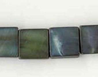 Dyed Mother of Pearl Square 9 x 9 Beads in Blue Green