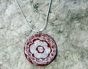 SALE Kiku Chrysanthemum fused glass disc pendant