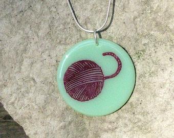 SALE Yarn fused glass disc pendant