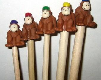 Fez Monkey Handmade Birch Knitting Needles, Wood Monkey Knitting Needles