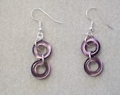 Purple Cat Eye Circle Earrings