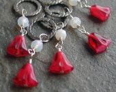 Red Glass Flowers Stitch Markers Set of 5