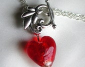 RESERVED - Red Glass Heart Floral Toggle Necklace with Sterling Silver Chain