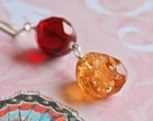 Tequila Sunrise Citrine and Burgundy Red Glass Necklace on Sterling Box Chain