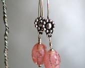 Pretty in Pink Glass Bead Dangle Earrings on Sterling Silver Earwires