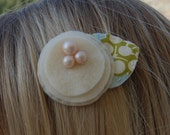 Cream Felt Clip with pretty hand beaded center, Big Clip for girls with more hair and adults, Hand sewn No glue