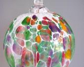 Hand Blown Multi-Colored  Art Glass Christmas Ornament by Rebecca Zhukov