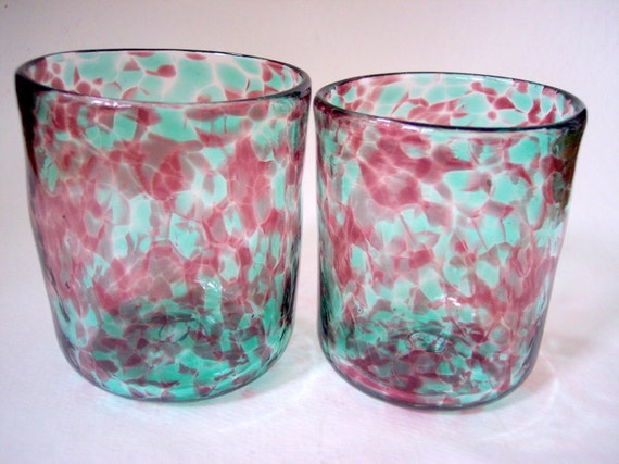 Set of 2 Hand Blown Art Glass Low Ball Drinking Glasses-Barware