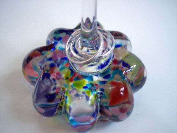 Hand Blown Art Glass Flower Ring Stand by Rebecca Zhukov