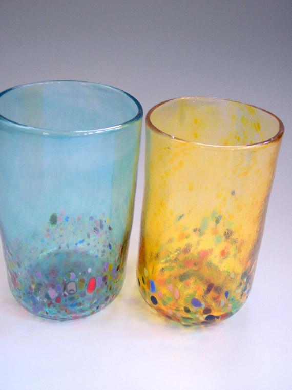 Set of 2 Hand Blown Art Glass Tumblers,Barware by Rebecca Zhukov