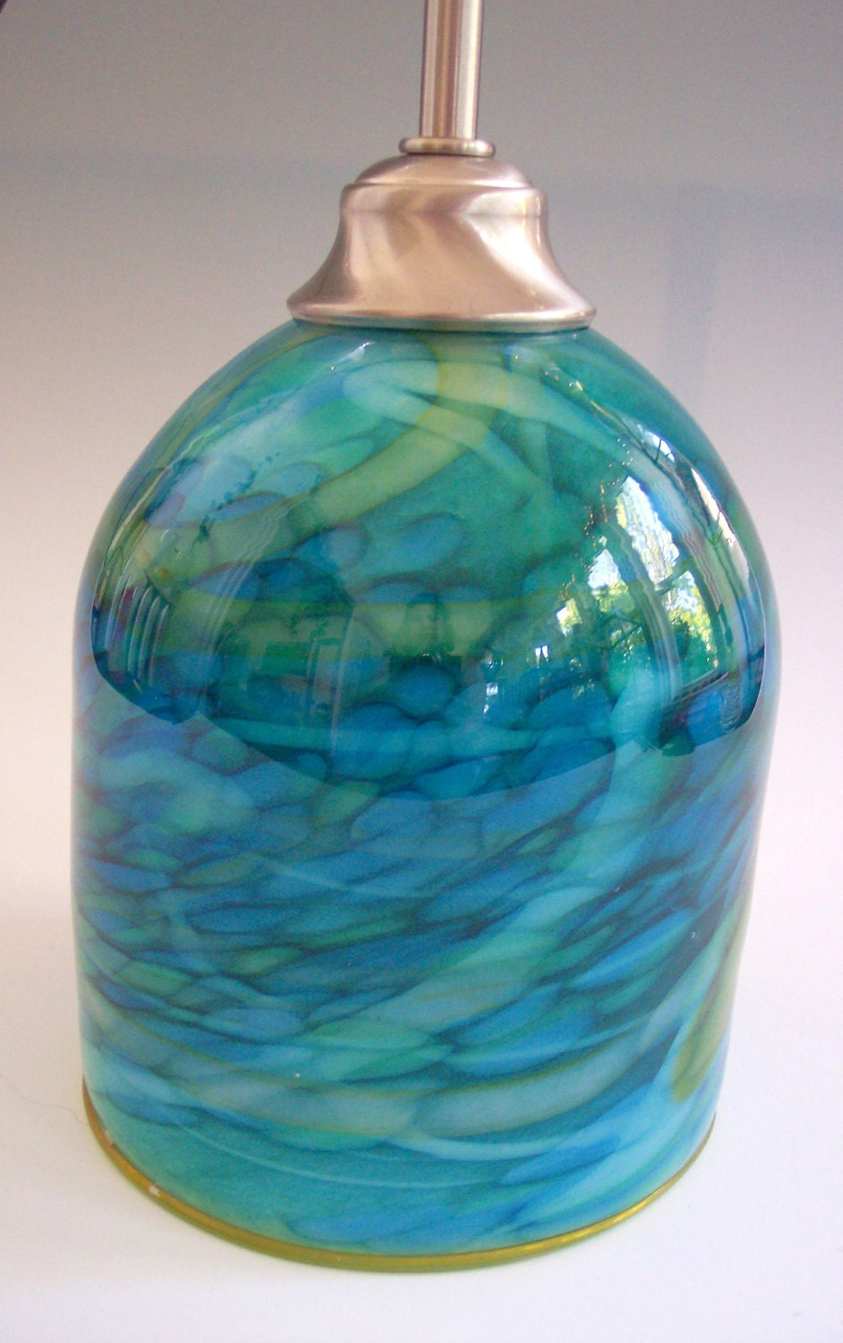 Ocean blues hanging art glass pendant by providenceartglass
