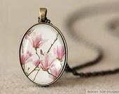 Pink Magnolia Photo Pendant Necklace - Wearable Art Jewelry - Glass Pendant - Art Pendant - Flower Pendant - Romantic Gift for Her