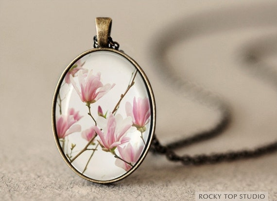 Pink Magnolia Photo Pendant Necklace - Wearable Art Jewelry - Glass Pendant - Art Pendant - Flower Pendant - Romantic Gift for Her