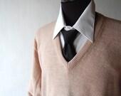 vintage Taupe Knit Boyfriend / Mens Sweater . l xl