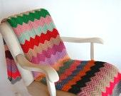 Handmade Vintage Zig Zag Afghan . Wool Throw . Multi Color