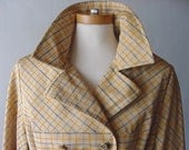 SALE Belted Tan Twill Pea Coat Jacket with Black and Yellow Plaid Print