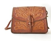 Tooled Leather Purse . Kelly Bag . Whipstitched . Elaborate Southwestern Floral . Handmade ooak