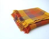 vintage Wool Throw . Ombre Plaid Blanket w Fringe . Faribo . Orange Goldenrod Brown