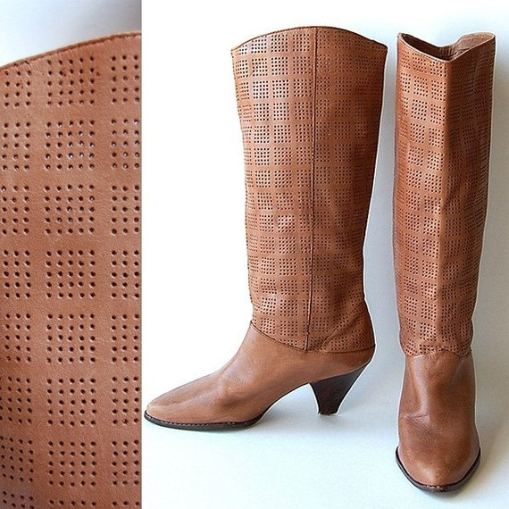 vintage Perforated Leather Boots . Caramel Brown . Knee High . Brazil . 6 M . as is
