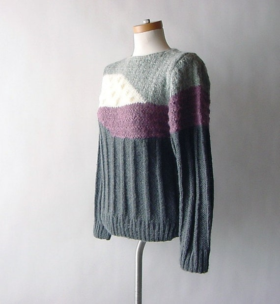 Vintage Chunky Knit Color Block Sweater in Charcoal Gray Cream and Plum