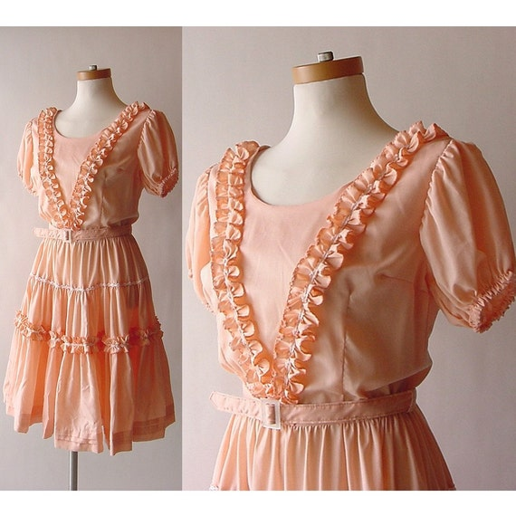 sale . Authentic Sweet Lolita Peach Cotton Swing Dress with Ruffles and Belt