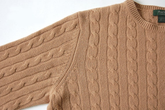Fully Fashioned Knitting : Vintage mens camel cashmere sweater classic cable knit l xl