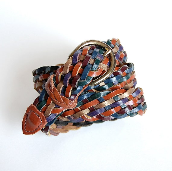 1980s Leather Belt . Woven Braided . Colorful . made in Guatemala  Green  Purple  Gold  Brown  Blue  Burgundy