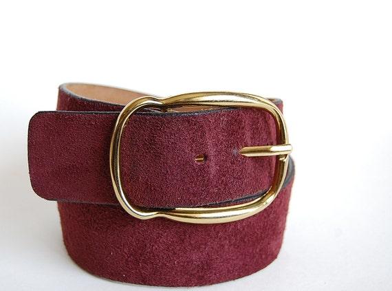 vintage 60s mens burgundy leather belt suede cowhide split