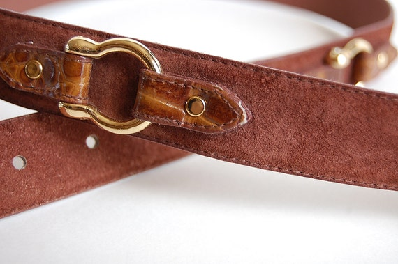 Classic vintage Equestrian Belt . Cognac Suede and Textured Leather . Goldtone Hardware