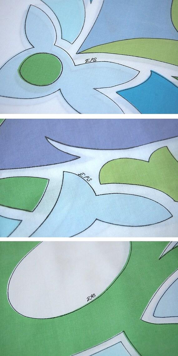 Emilio Pucci Pillowcase . signed . Julia Pattern . Purple Green Blue . Springmaid Wondercale