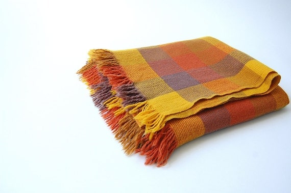 vintage Wool Throw . Ombre Plaid Blanket w Fringe . Faribo . Orange Goldenrod Brown