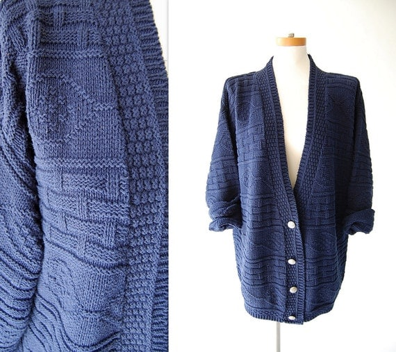 1980s Cardigan . vintage Oversized Cardigan . Navy Blue Cotton Knit Sweater Jacket . Texture