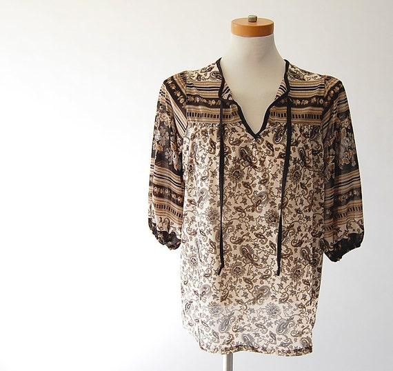vintage Sheer Blouse . vintage Trapeze Top . India paisley floral print . Cream Mocha Grey and Black s m l