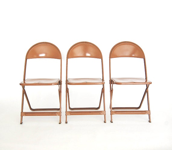 On hold ... Lot of 3 Industrial Folding Chairs / Weathered Nostalgia / Set of 3 / Metal / possibly Cosco Business Furniture