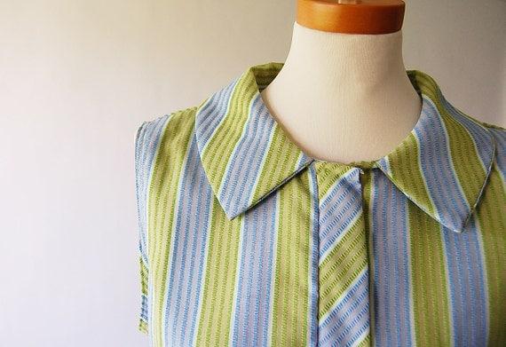 1960s Sleeveless Day Dress / mod vintage jumper / Seersucker Stripe / Belt / Pockets m l