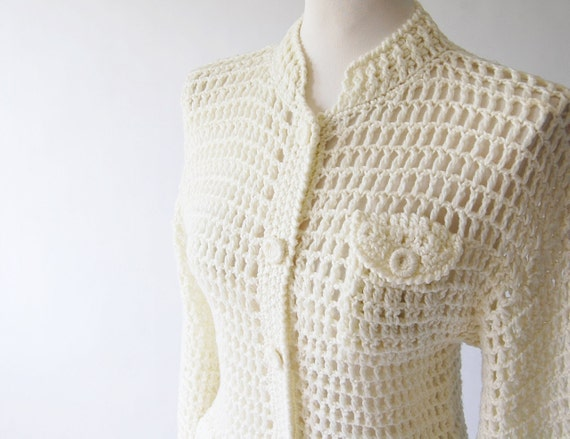 handmade Cardigan . Cage Knit Sweater . Jacket . Texture . skinny fit . pockets . cream xs s