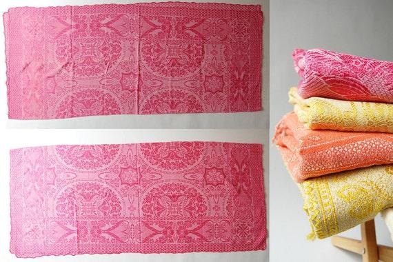 Pink Italian Coverlet . brocade damask . vintage bedspread . Art Deco Floral beach blanket . hearts feathers